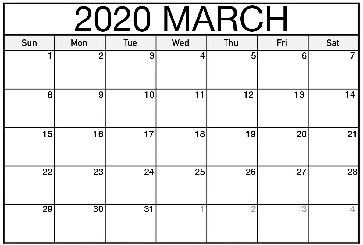 March 2020 Calendar For US