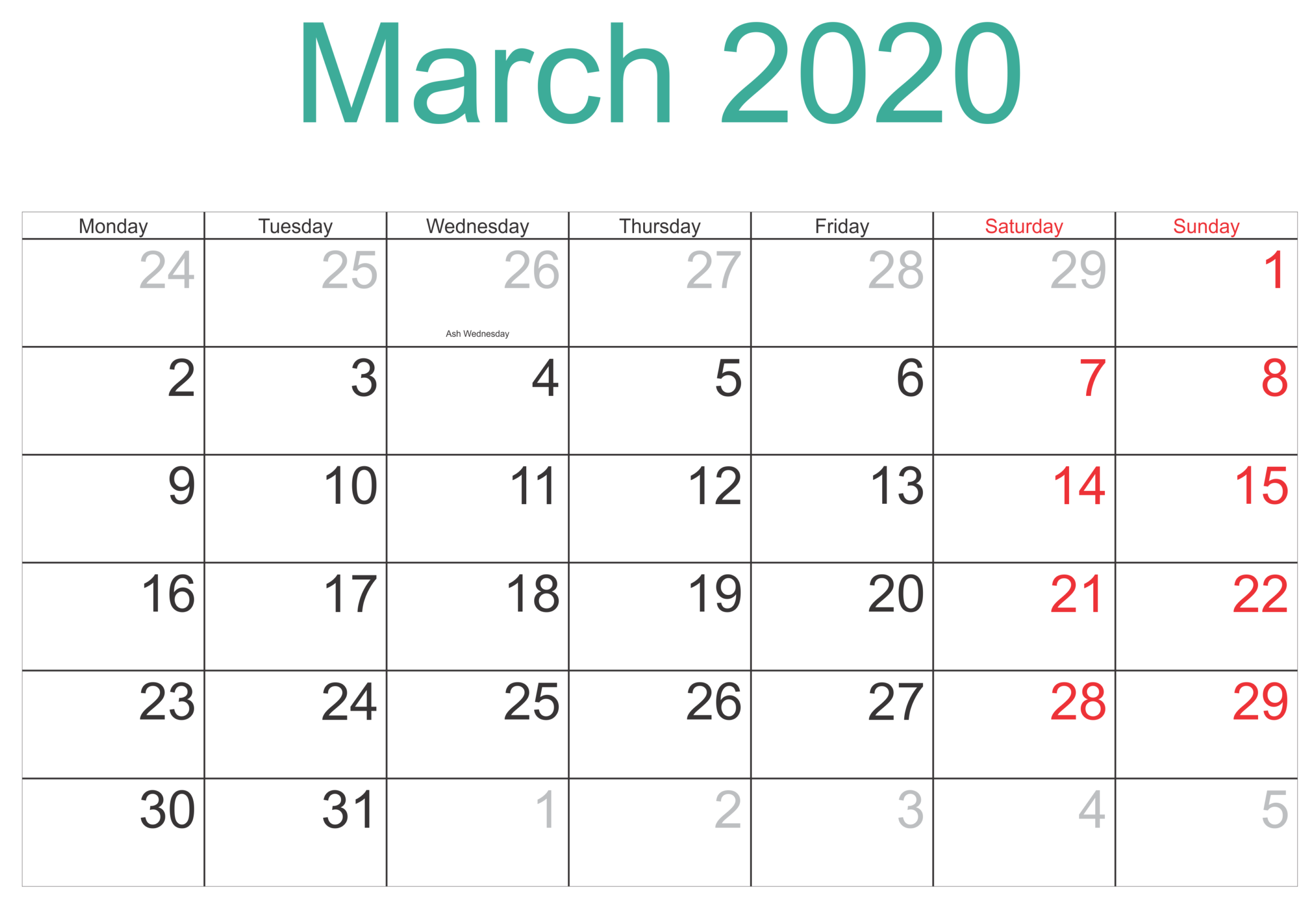 March 2020 Calendar Printable US