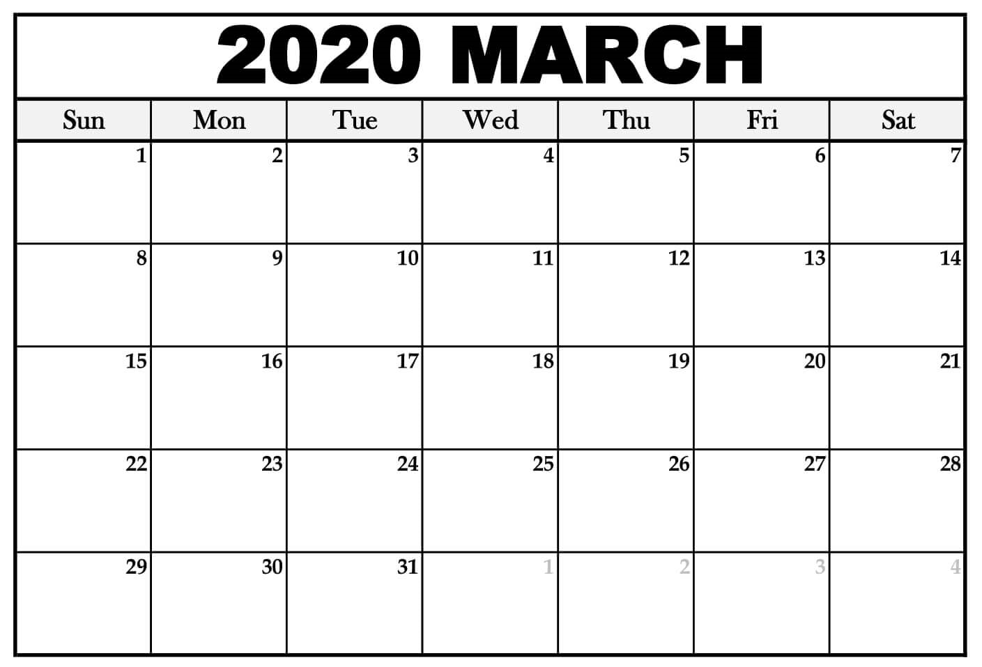 March 2020 Calendar Template With Holidays