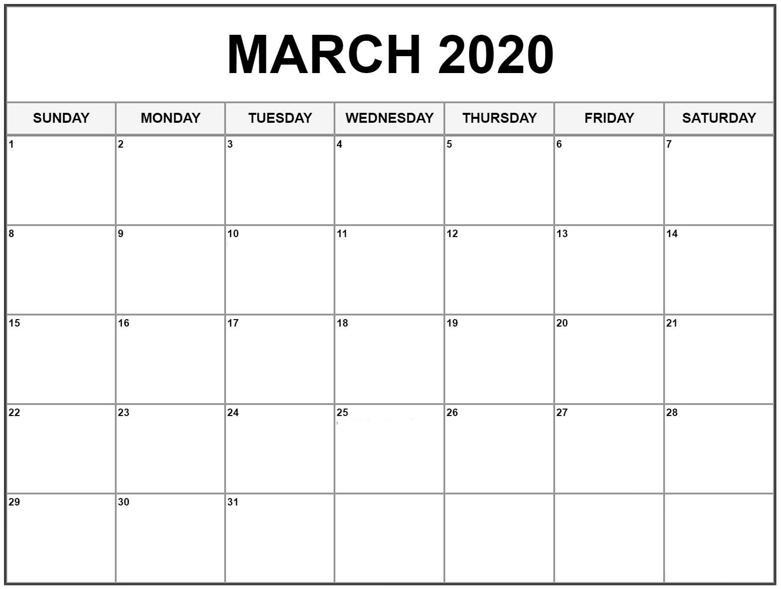 March 2020 Calendar US Holidays