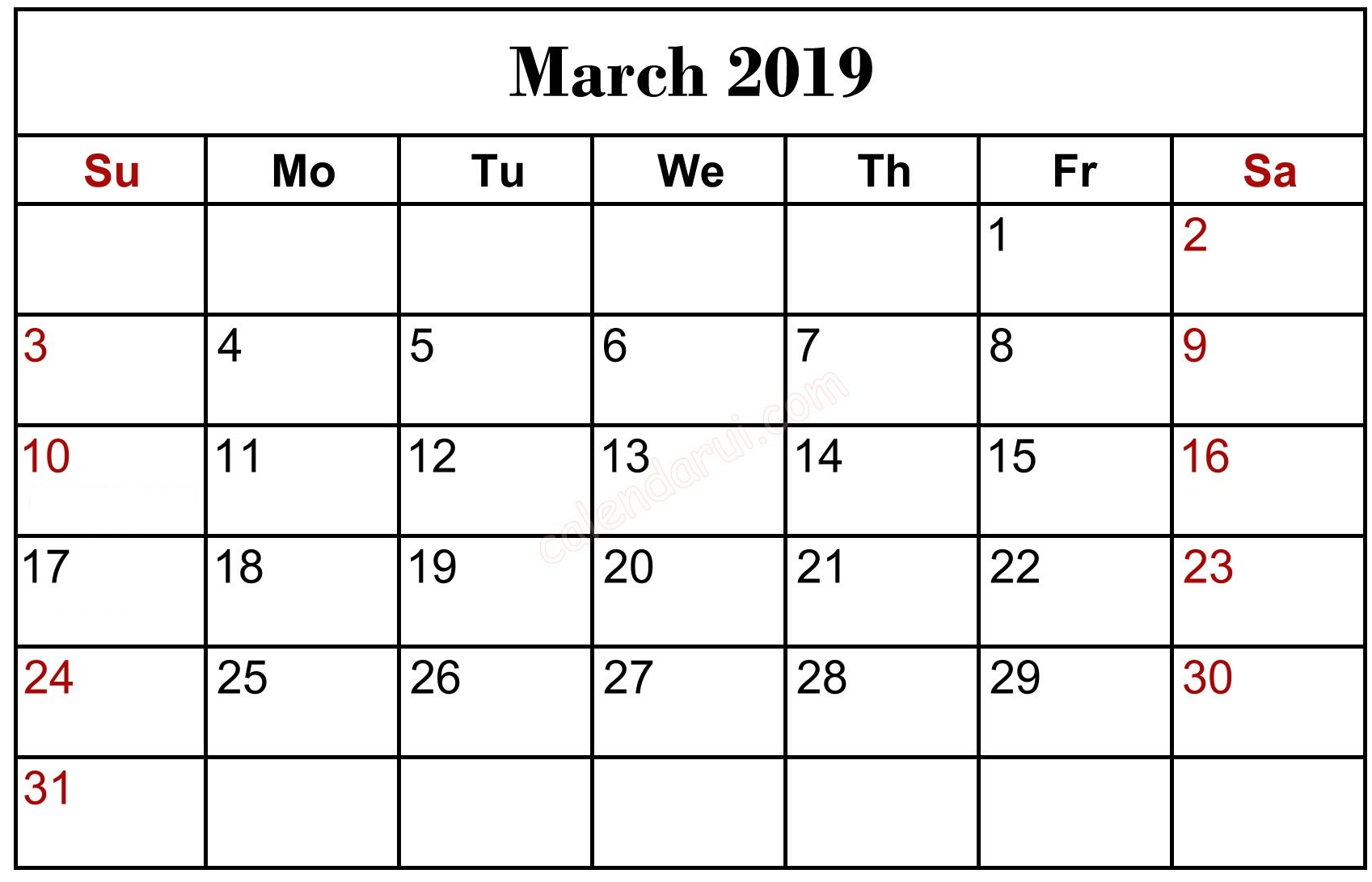 March 2020 Calendar US Printable