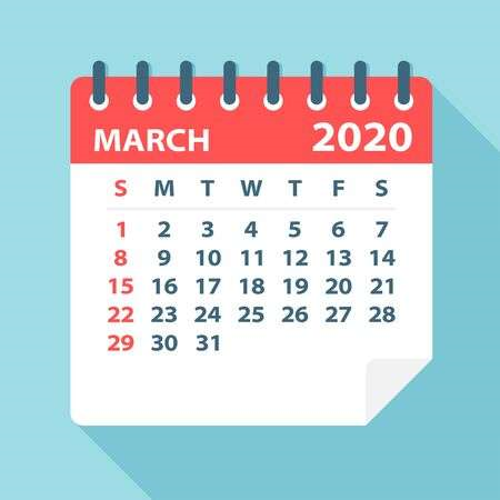 March 2020 Calendar US Template
