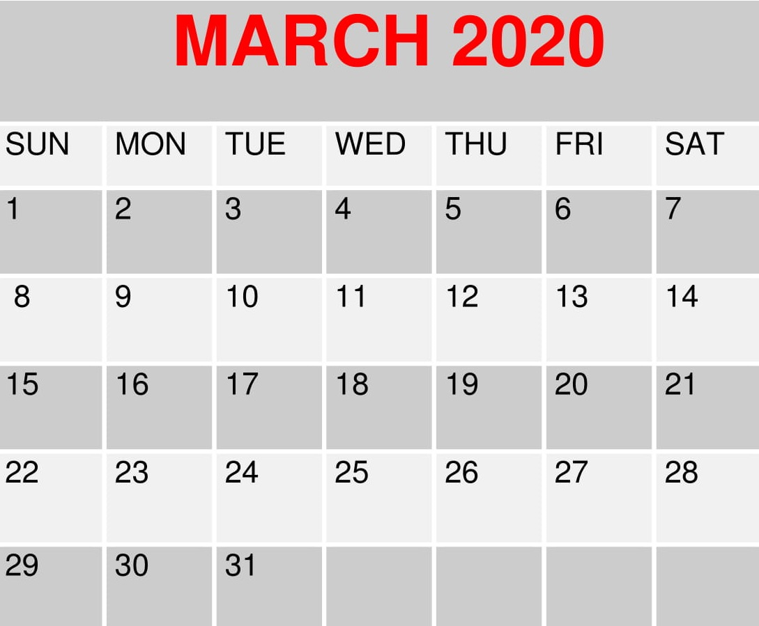March 2020 Free Calendar Printable Holidays