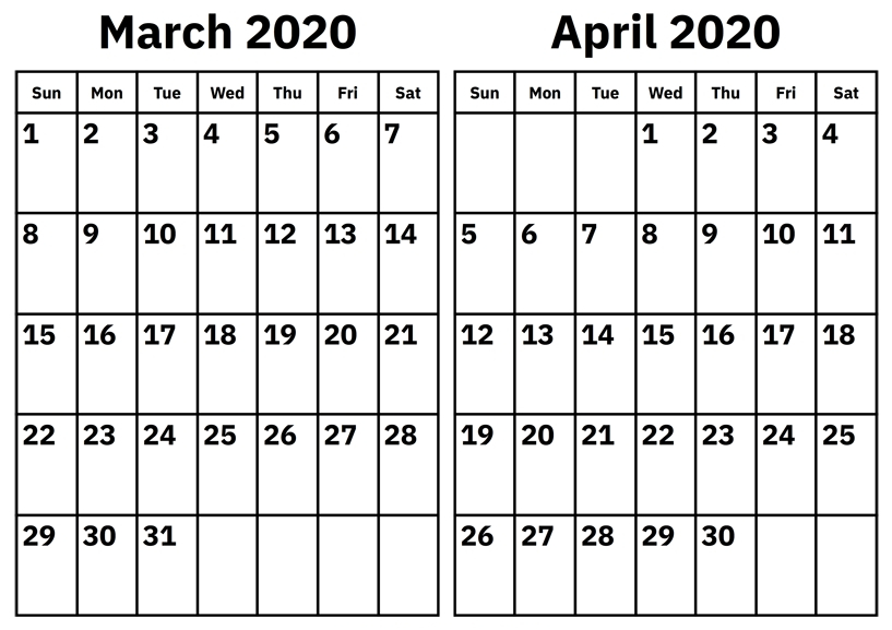 March and April 2020 Calendar Printable