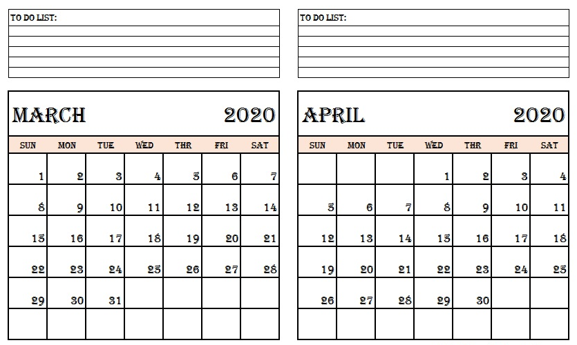 March and April 2020 Calendar with Notes