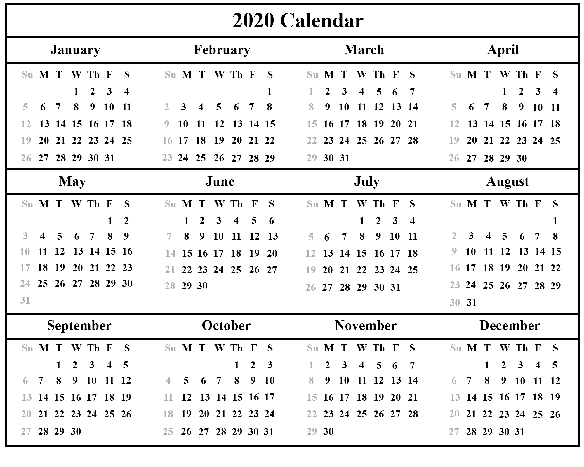Uf Schedule 2020.Free Printable Calendar 2020 With Holidays 12 Month