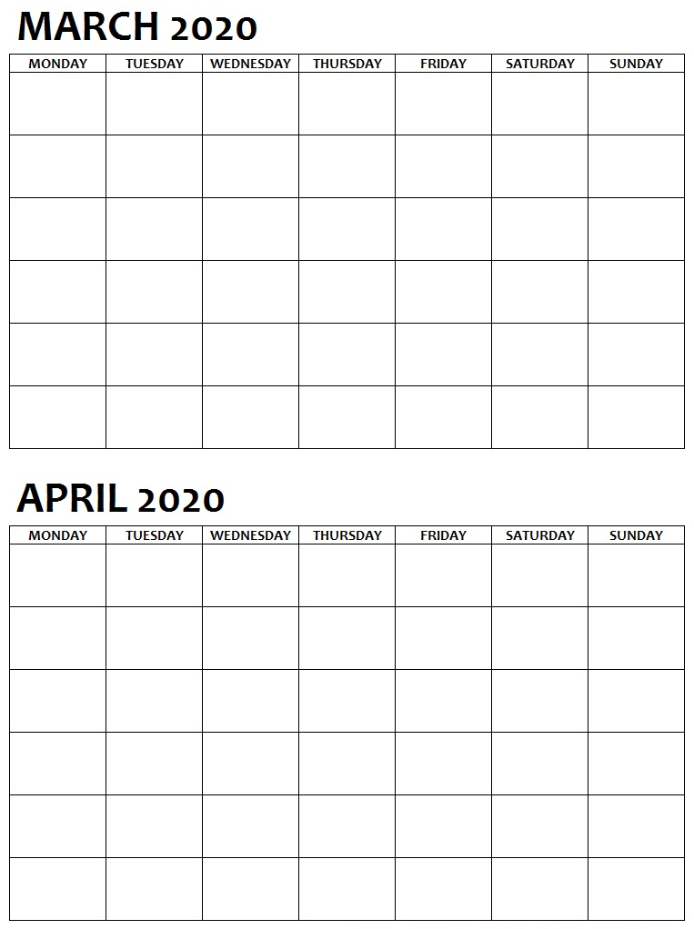 Two Month March April 2020 Calendar Blank