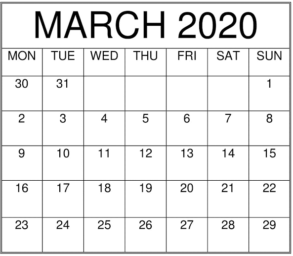 free March 2020 Calendar Printable Full Page