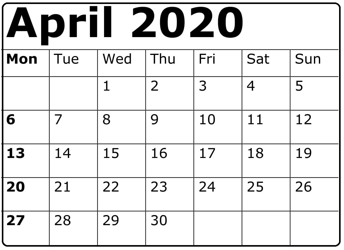 April 2020 Calendar Free Download