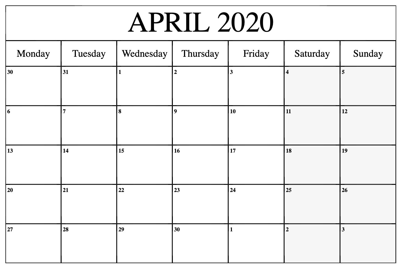 April 2020 Calendar Monthly Template