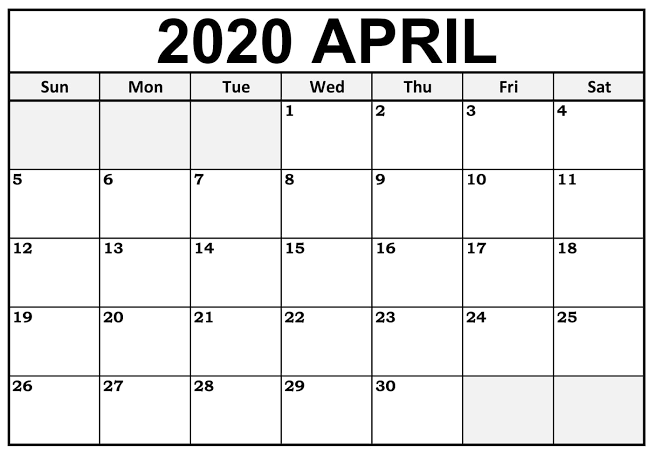 April 2020 Calendar Printable US