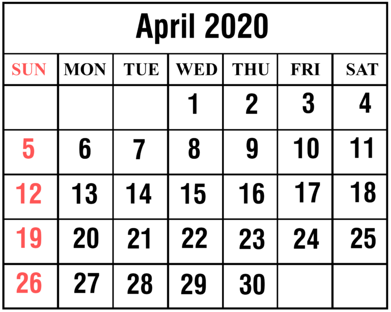 April 2020 Calendar Template Download
