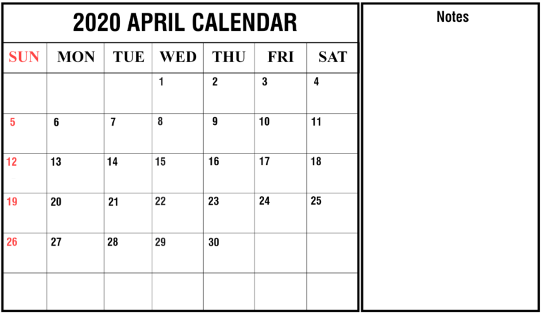 April 2020 Calendar Template Landscape