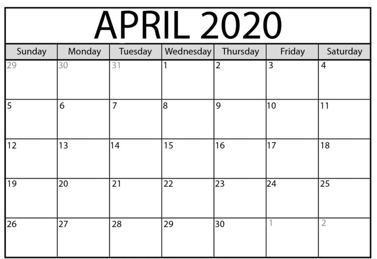 April 2020 Calendar Template Printable