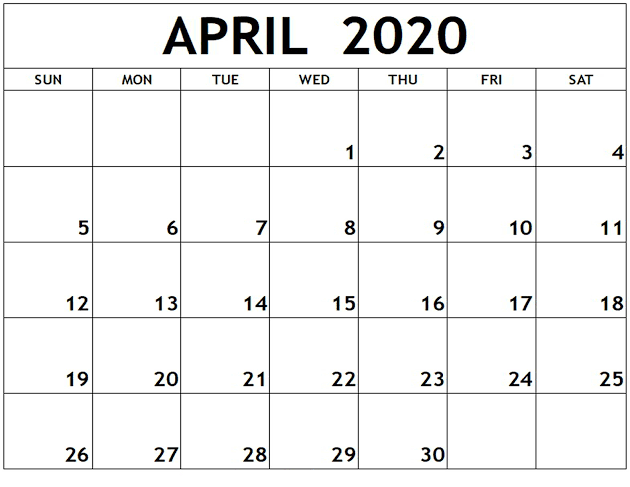 April 2020 Calendar US Download