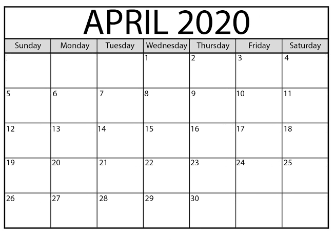 April 2020 Calendar US Printable