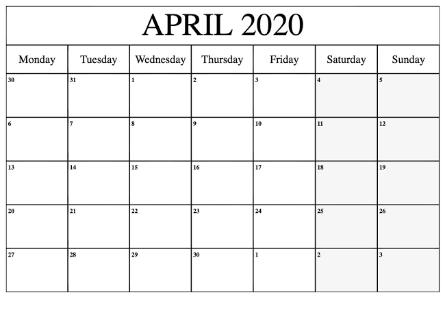 April 2020 Calendar US Template