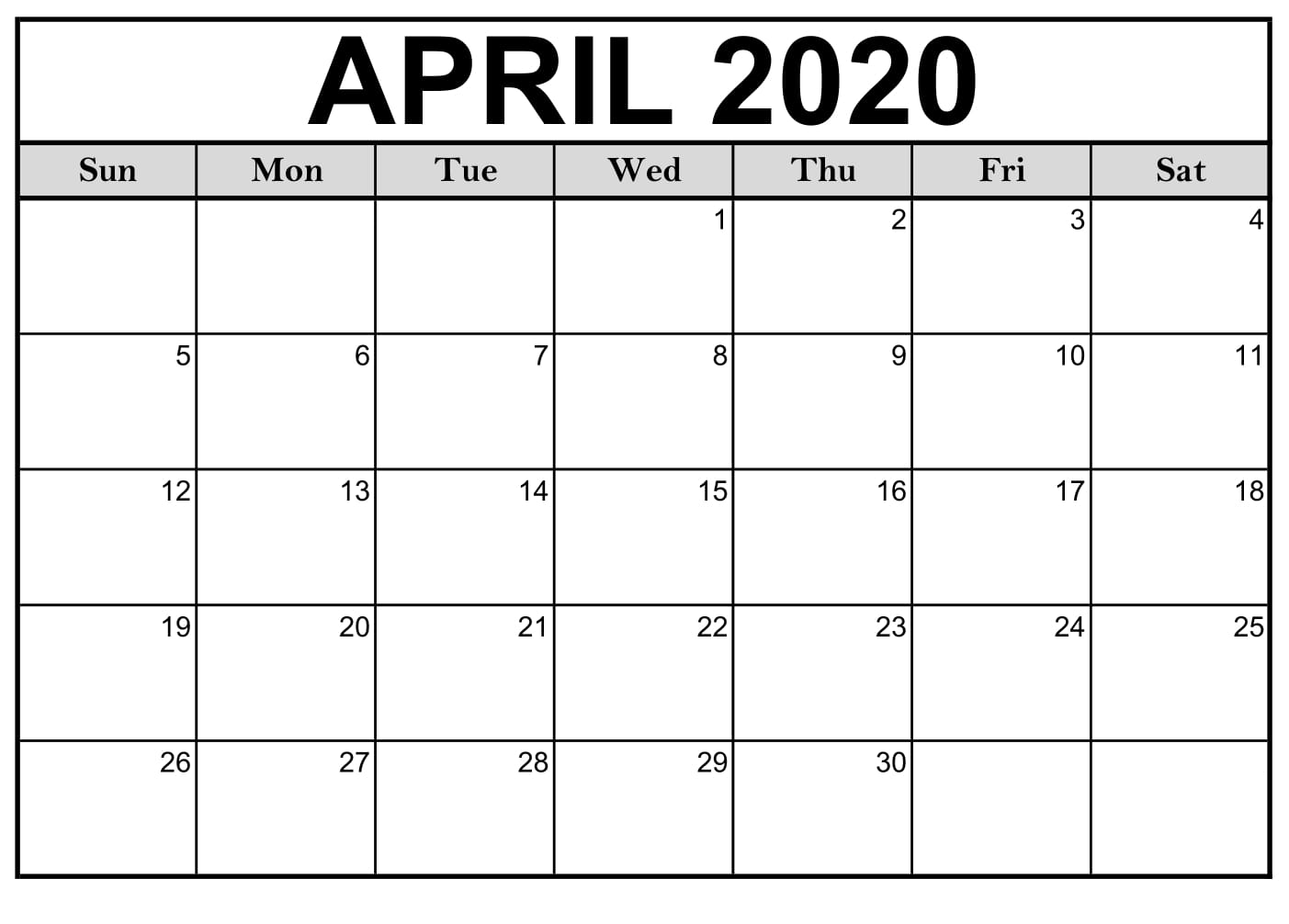 April 2020 Printable Calendar Excel