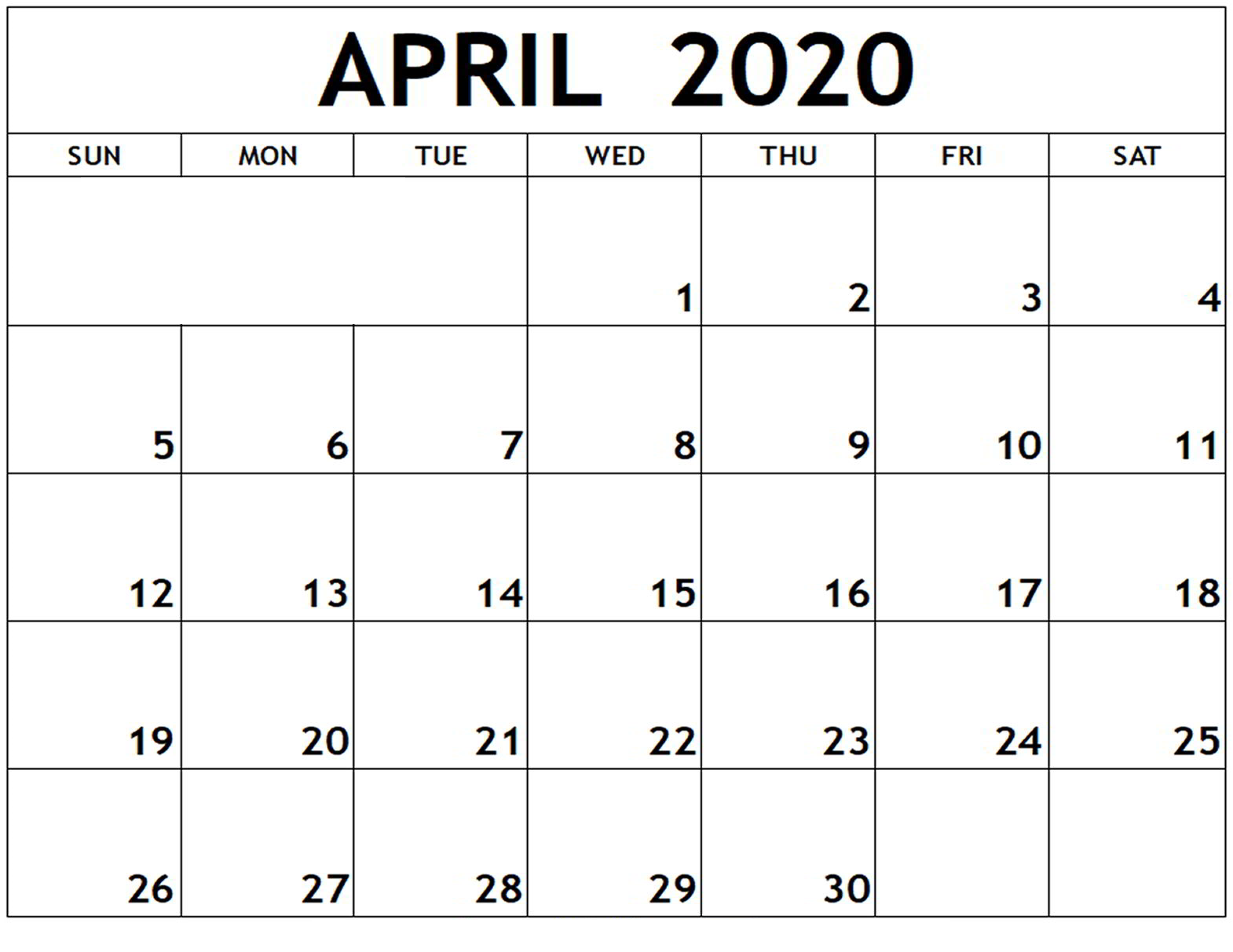 April 2020 Printable Calendar Word