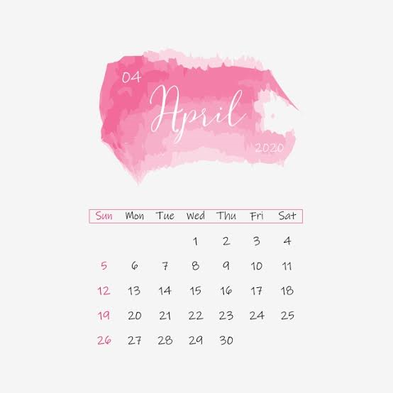 Cute April 2020 Calendar Download