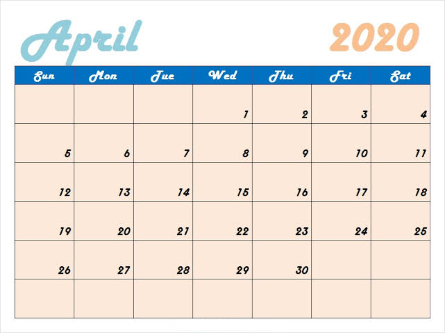 Cute April 2020 Calendar Editable