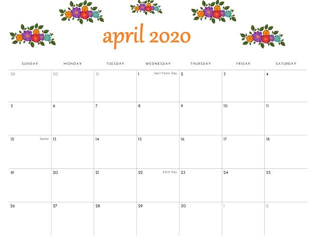 Cute April 2020 Calendar Printable