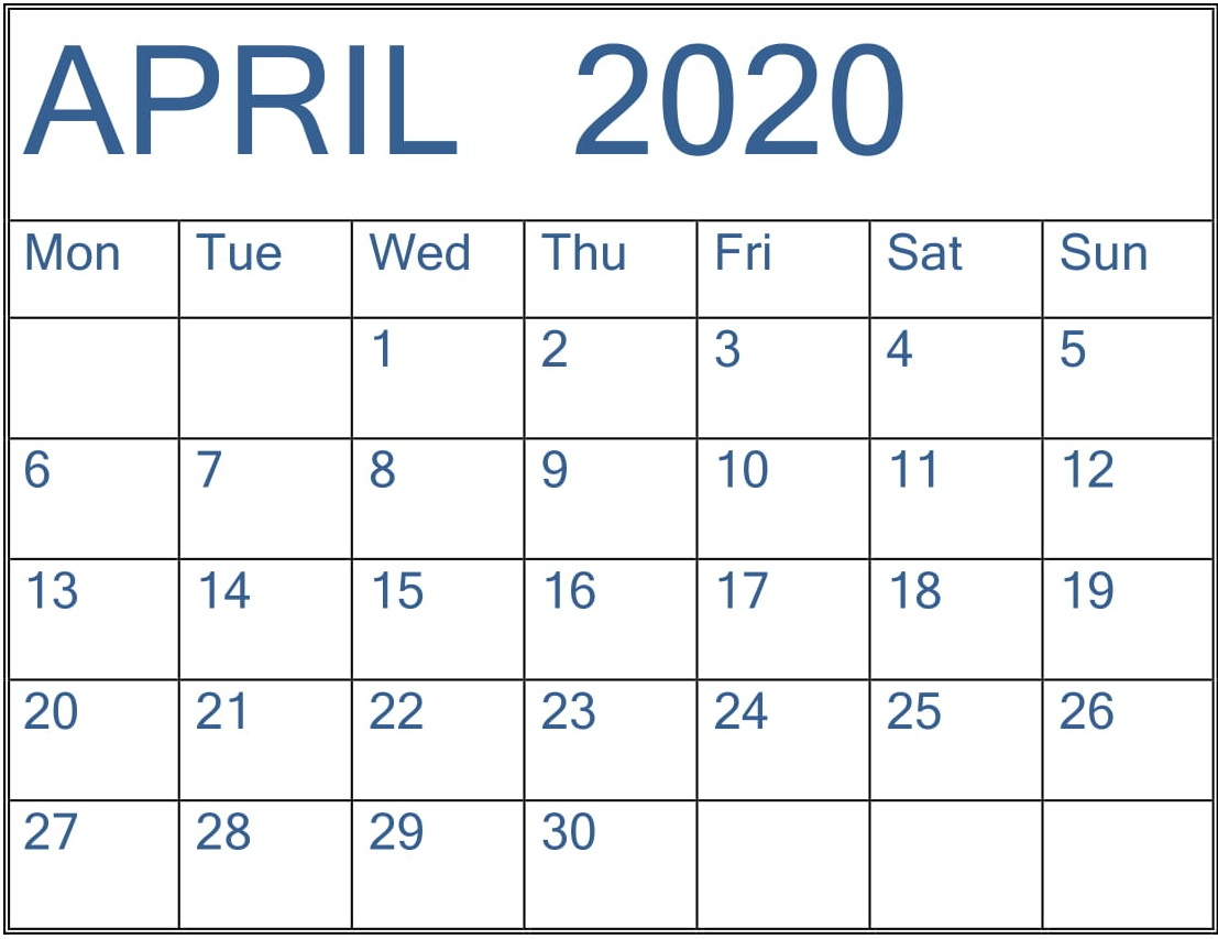 Cute April 2020 Calendar UK