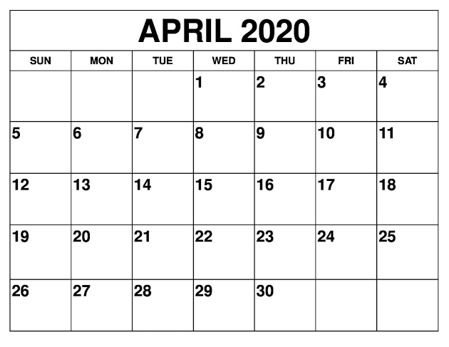 Cute April 2020 Calendar US