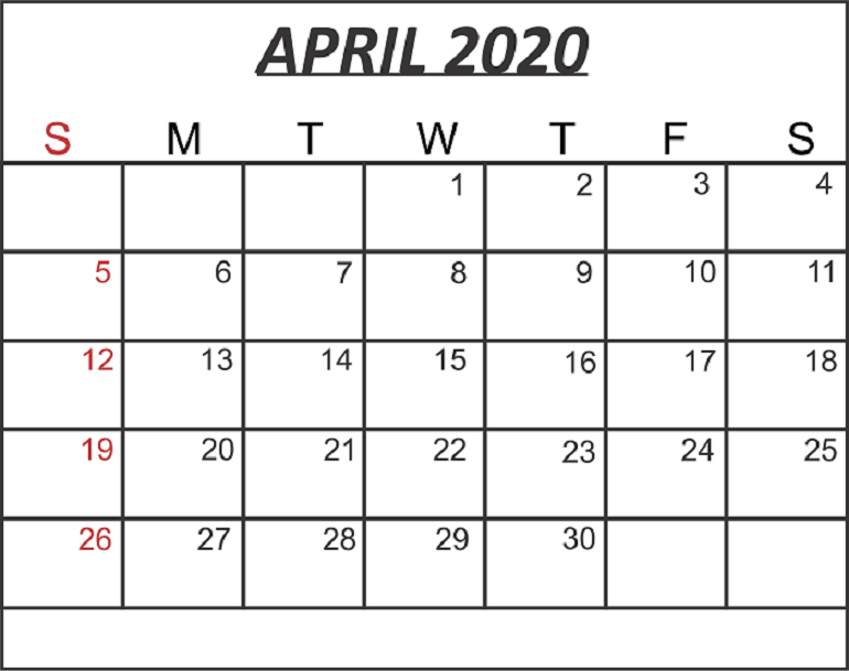 Cute April 2020 Calendar Word