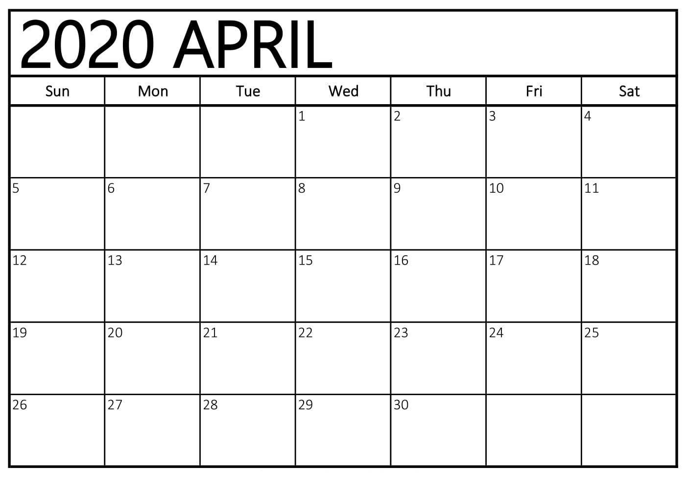 Cute Free Printable April 2020 Calendar