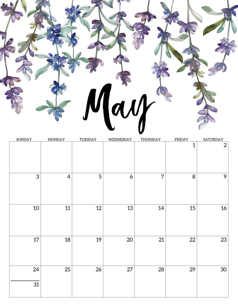 Cute May 2020 Calendar Printable