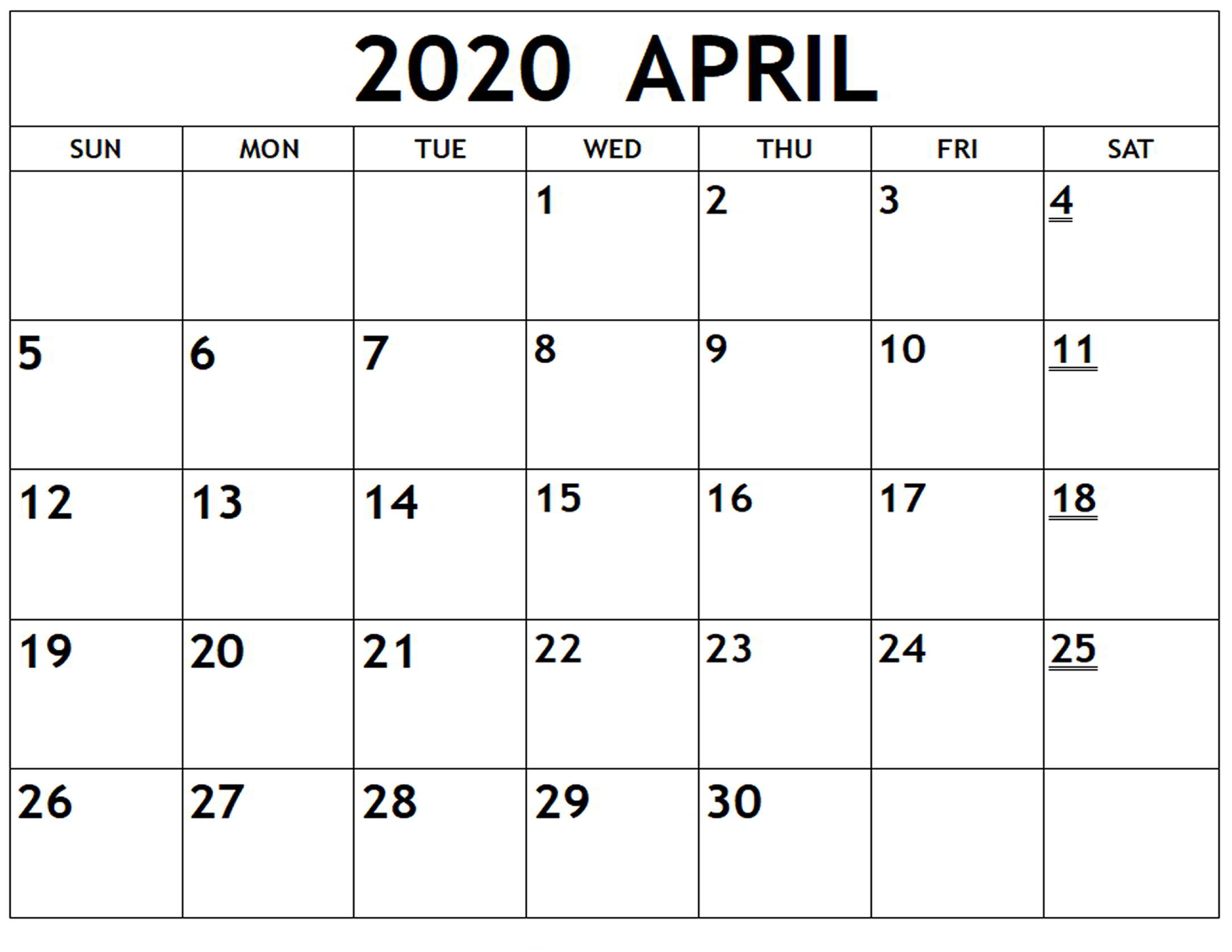 Free Printable April 2020 Calendar Excel