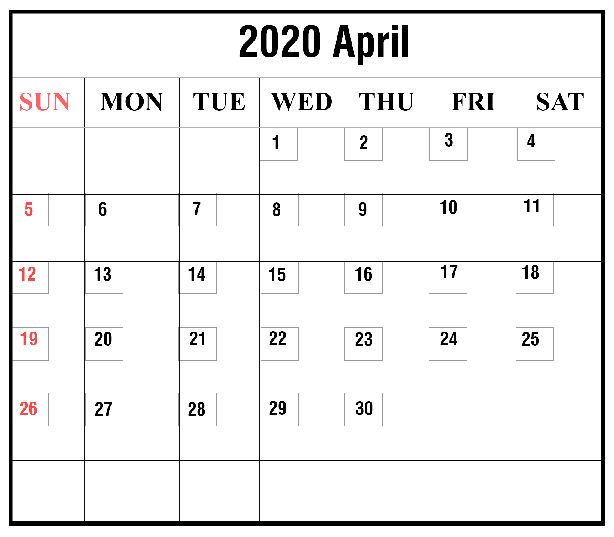 Free Printable April 2020 Calendar Template