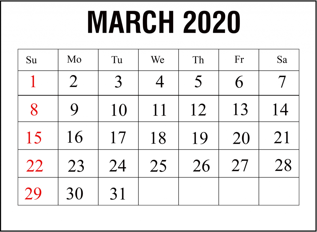 March 2020 Calendar Template Download