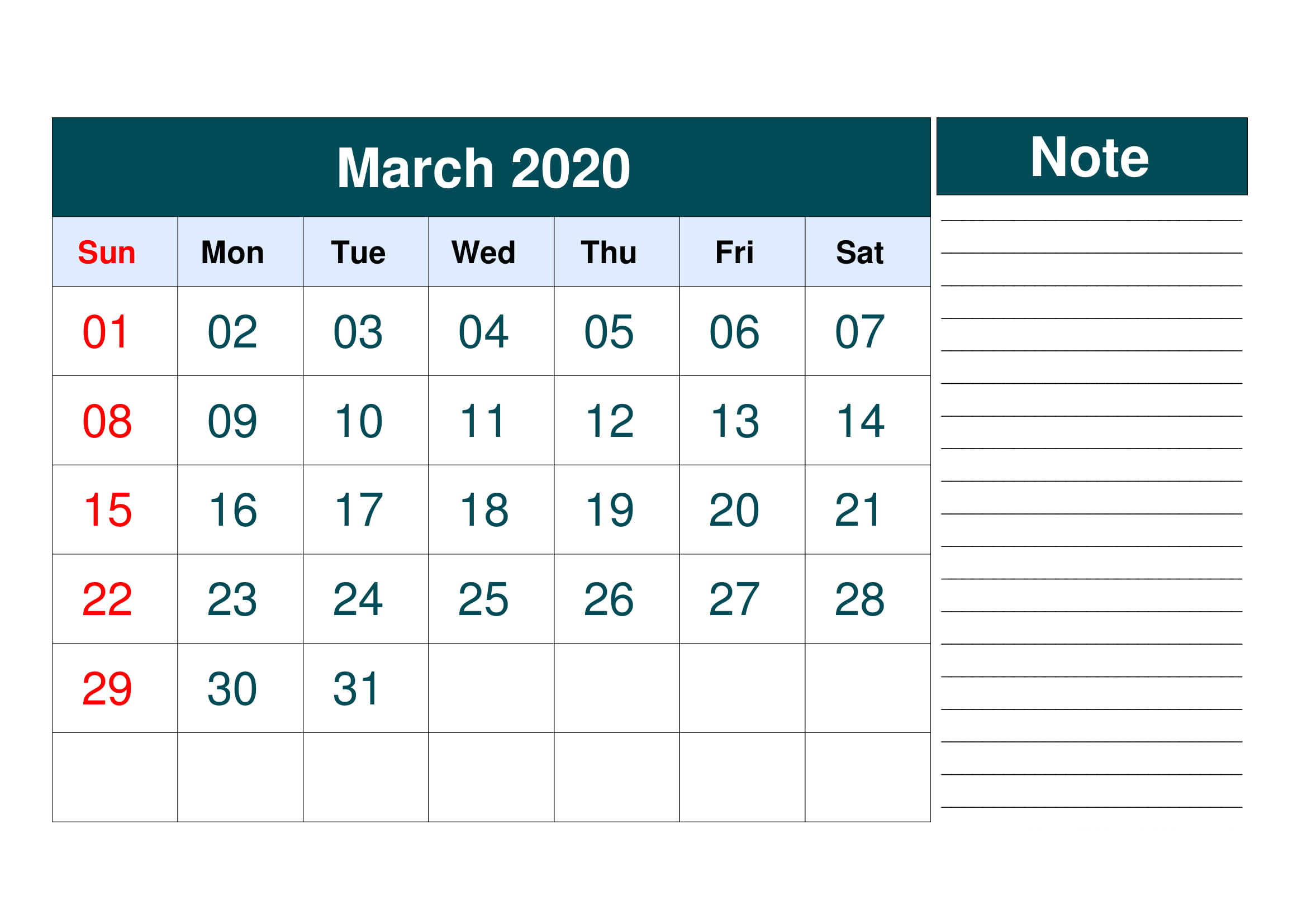 March 2020 Calendar Template Printable