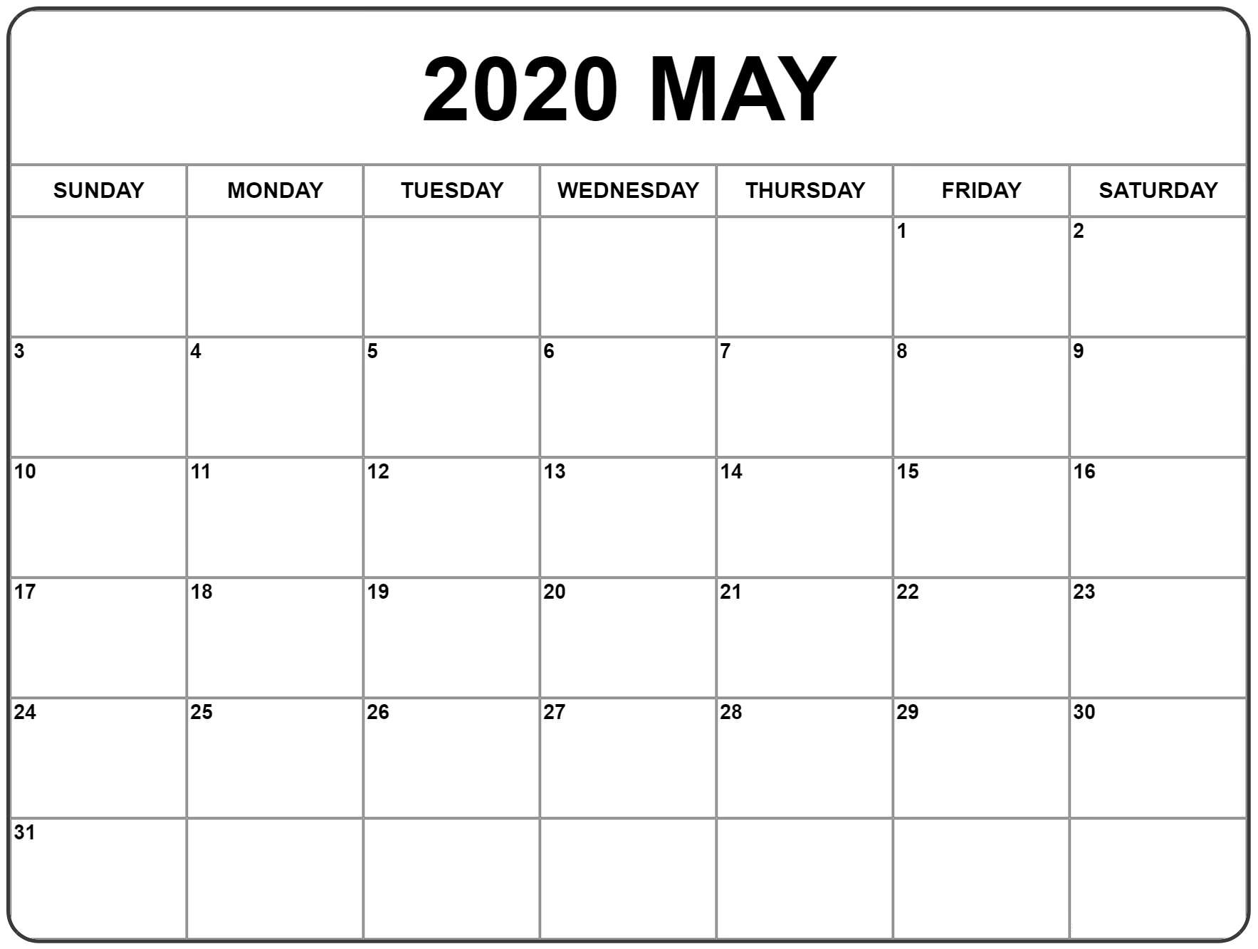 May 2020 Calendar US Monthly