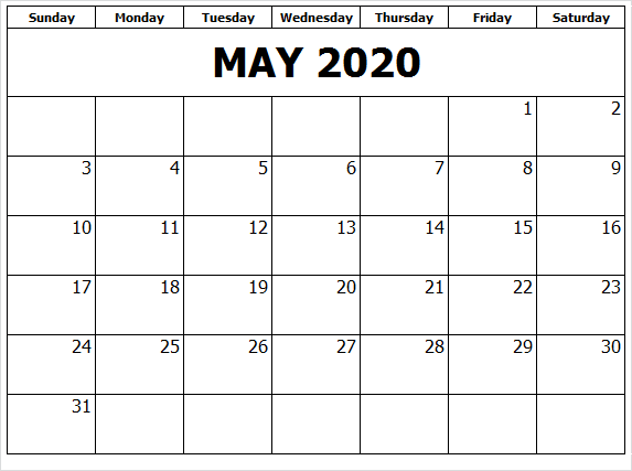May 2020 Calendar With Holidays Download