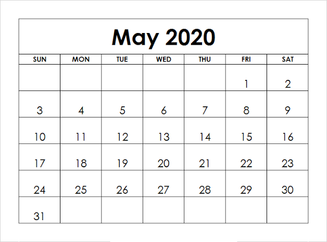 May 2020 Calendar With Holidays PDF