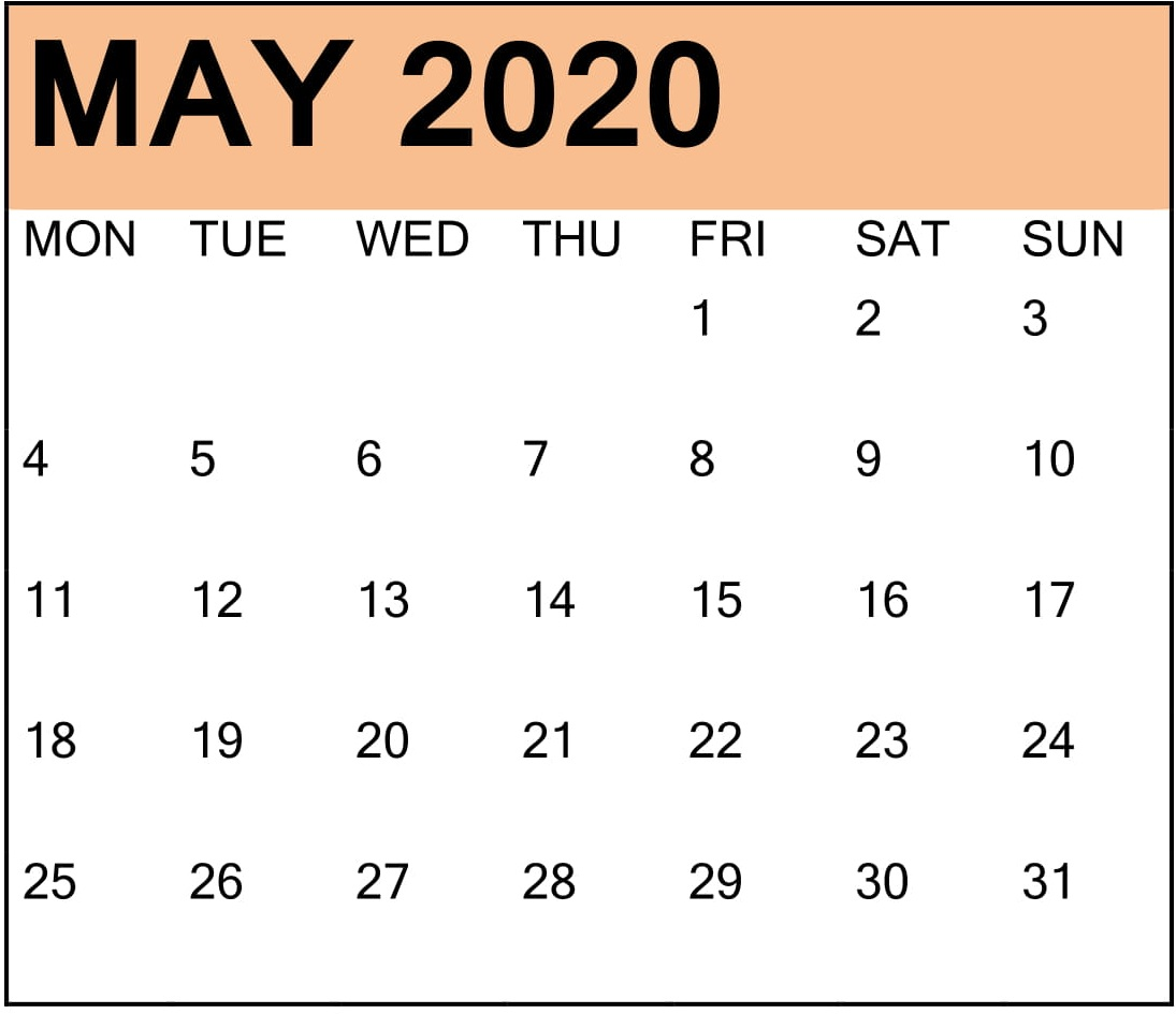 May 2020 Calendar With Holidays Page