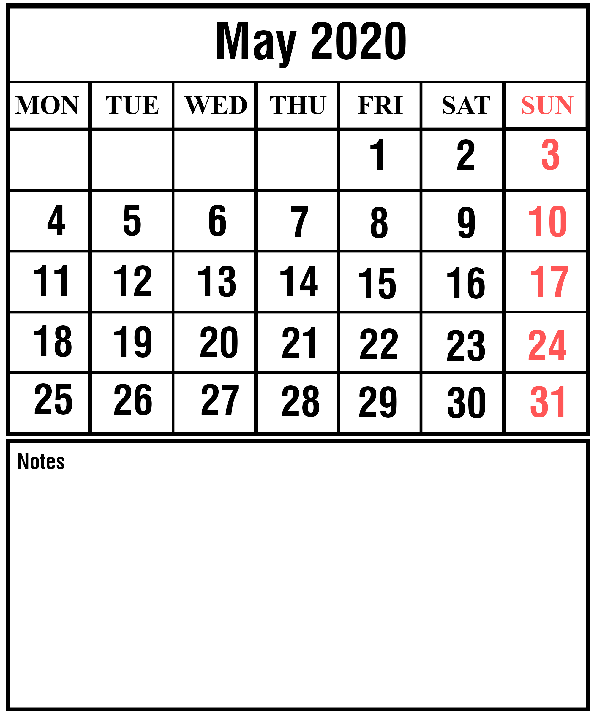 May 2020 Calendar With Holidays Template