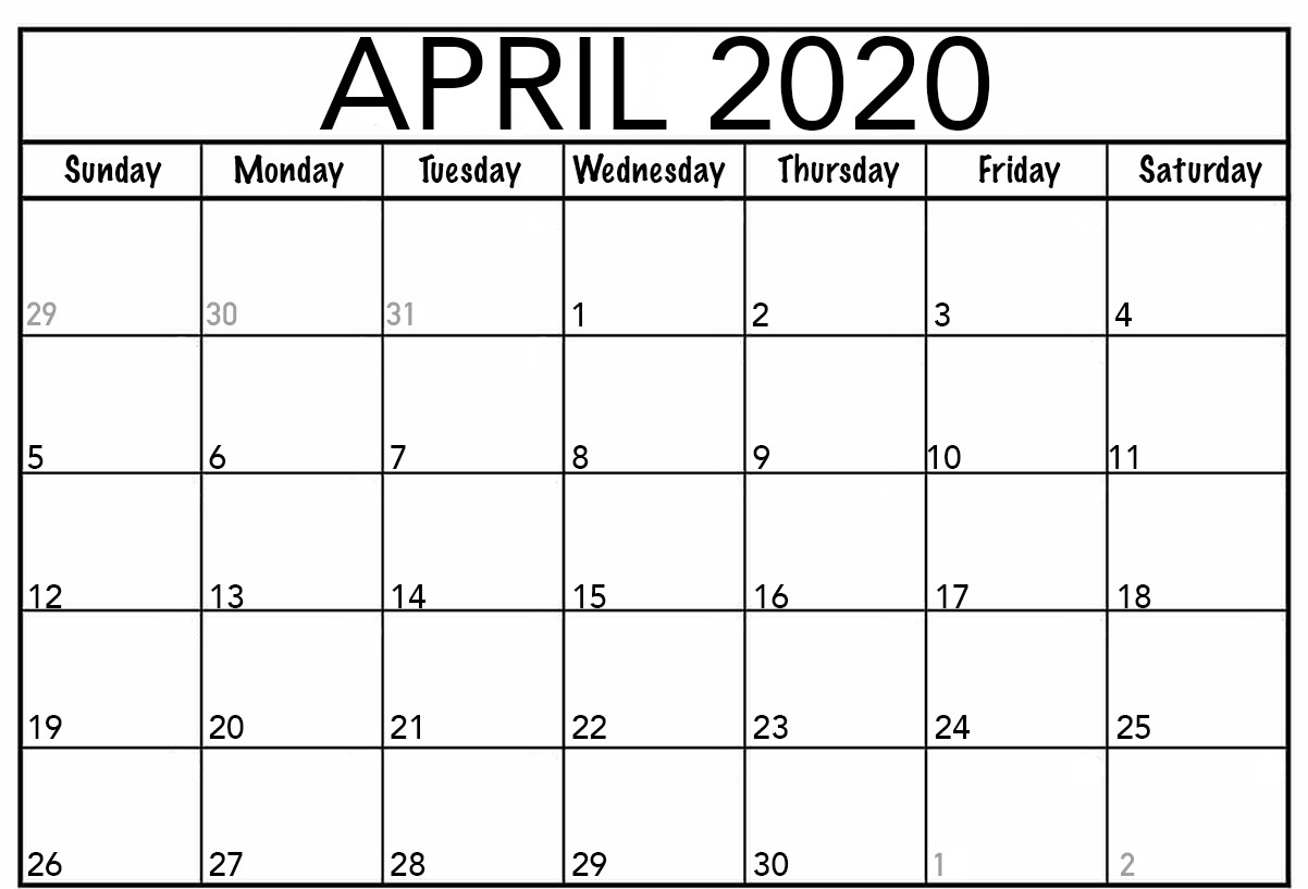 Printable April 2020 Calendar Template