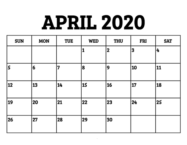 Printable April 2020 Calendar US