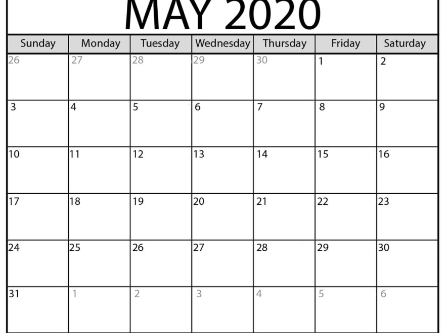 Printable Cute May 2020 Calendar
