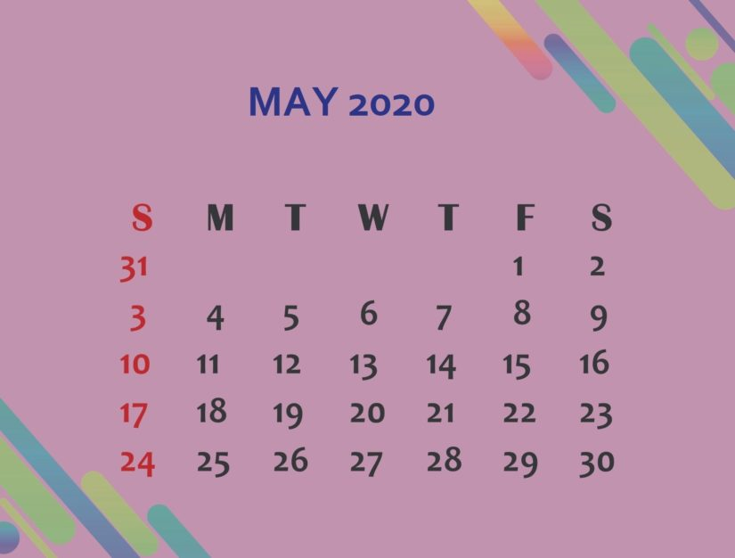 Purple Cute May 2020 Calendar