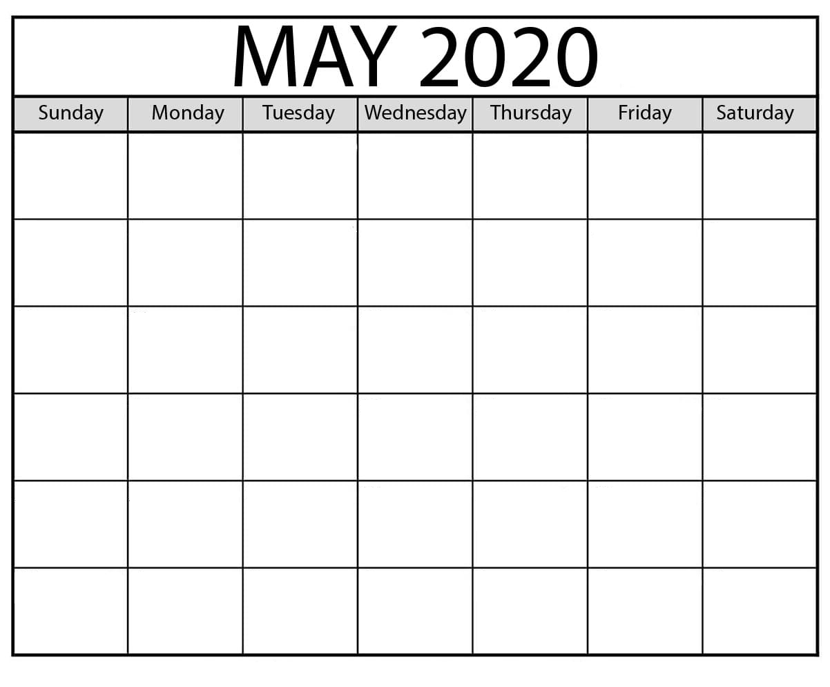 Blank May 2020 Calendar Download