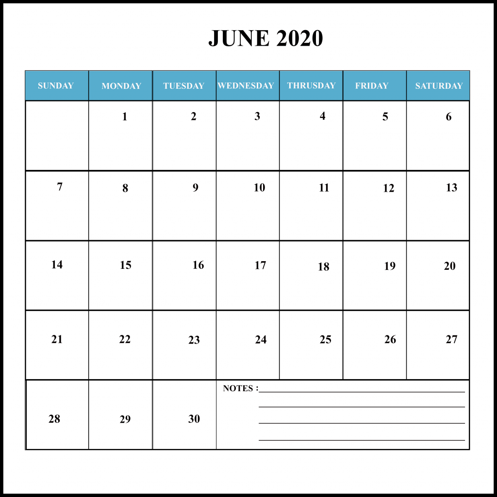 June 2020 Calendar With Holidays Free