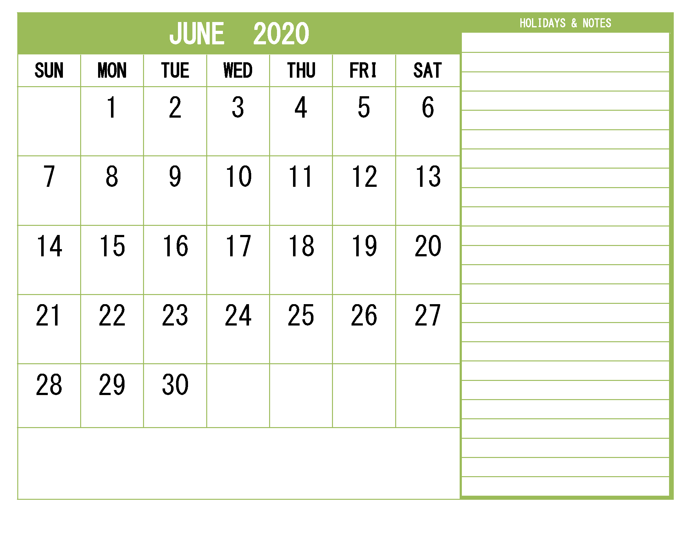 June 2020 Calendar With Holidays Printable