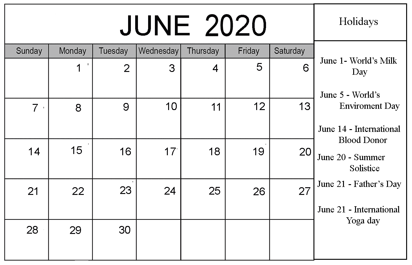 June 2020 Calendar With Holidays Template