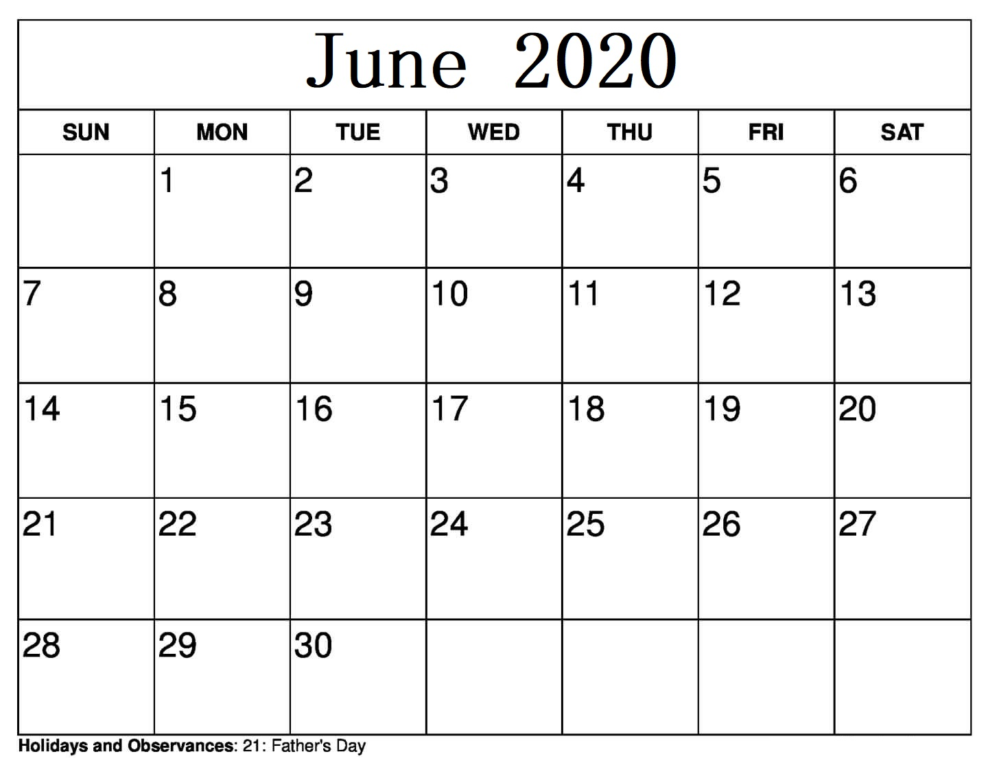 June 2020 Calendar Layout