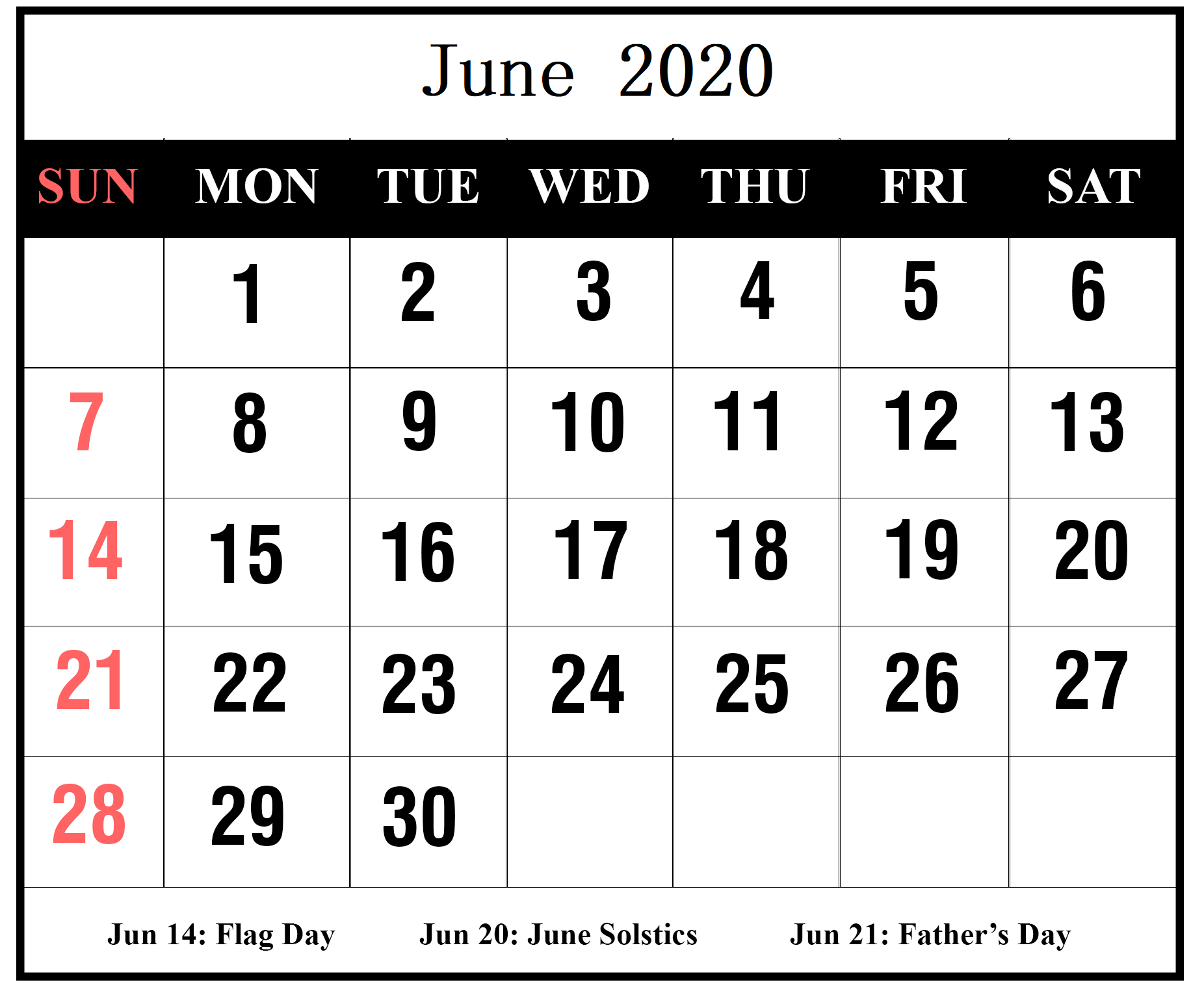 2020 June Calendar With Holidays